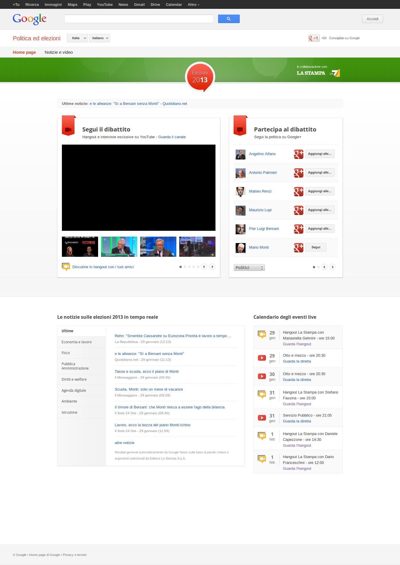 Screenshot Google Elezioni edizione Italiana